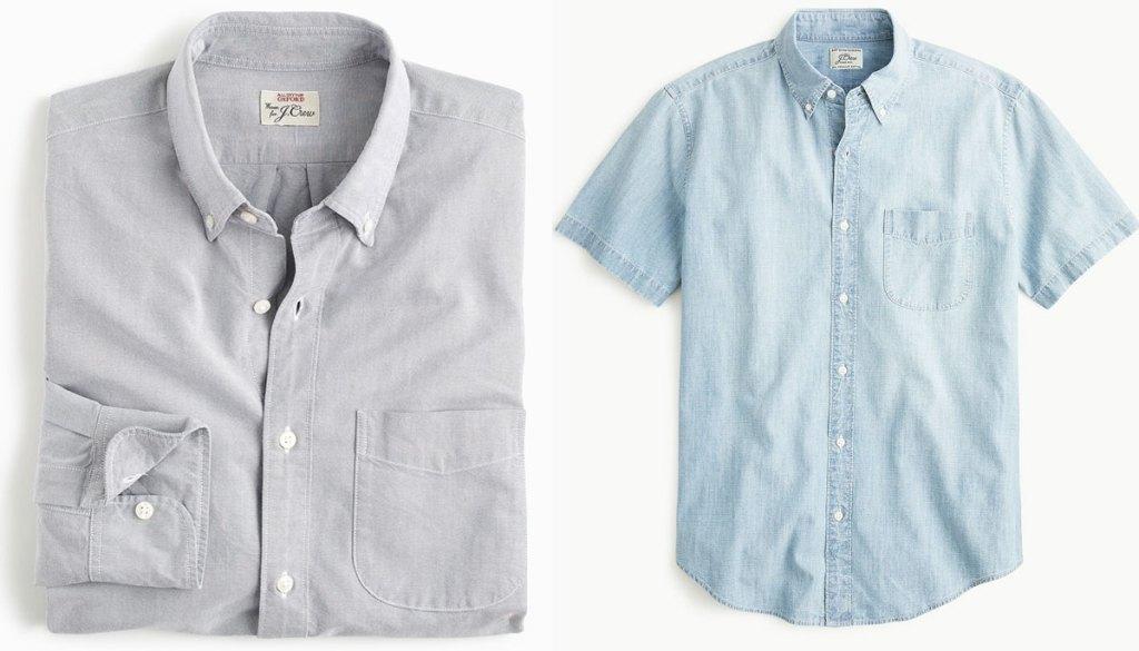 grey long sleeve men's dress shirt and short sleeve light blue dress shirt