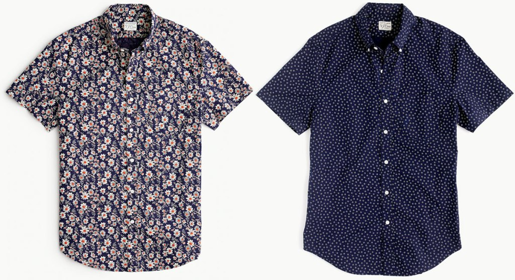 short sleeve men's button up dress shirts in floral and navy blue dotted prints