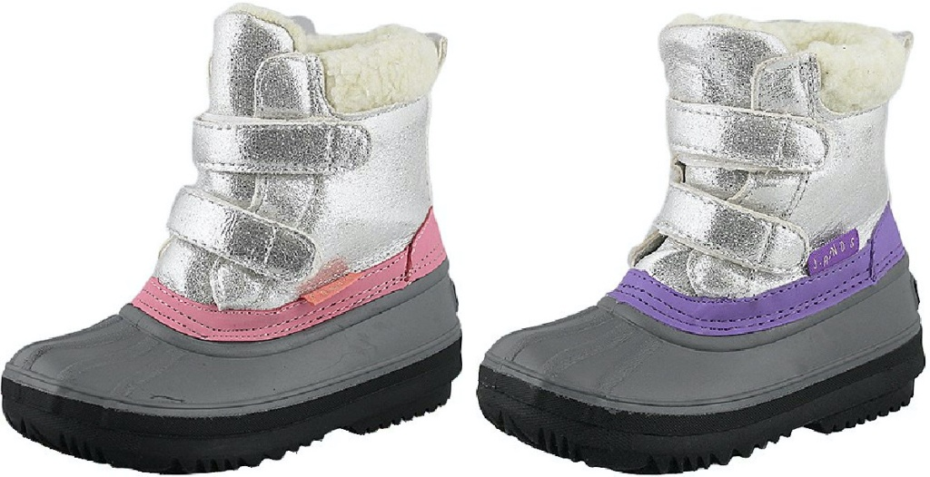 kids pink and silver duck boot and kids purple and silver duck boot