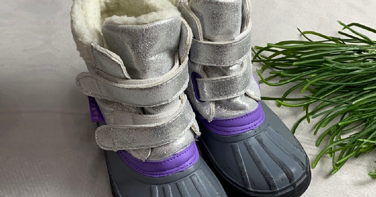 kids purple and silver duck boots