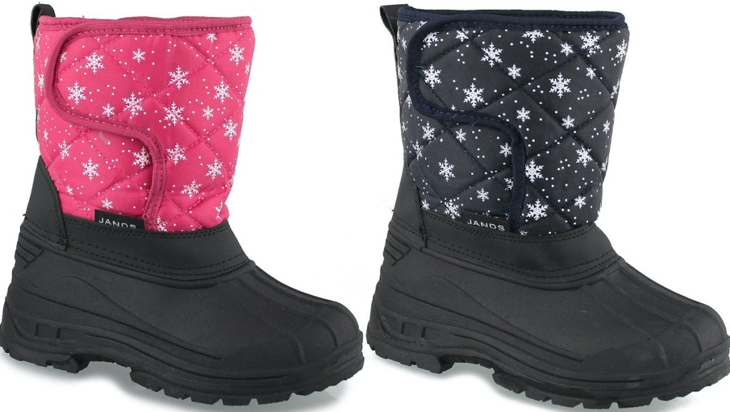 kids black pink snowflake winter boots and kids black navy snowflake winter boots