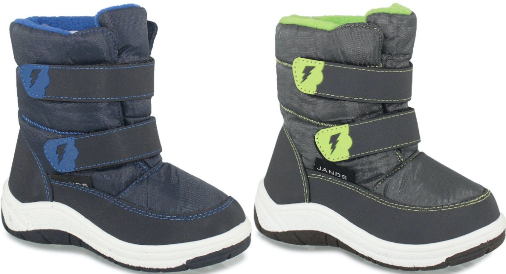 kids gray and blue winter boot and kids green and gray winter boot