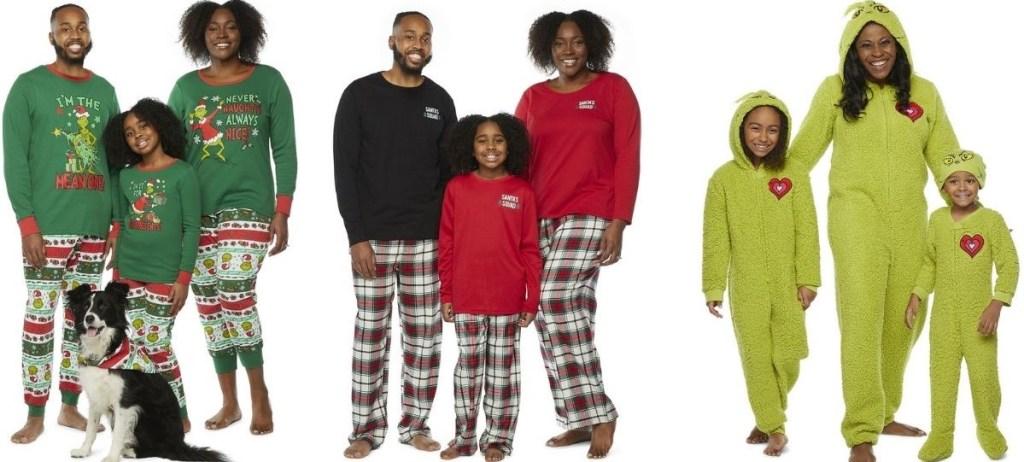 three families wearing matching pajamas