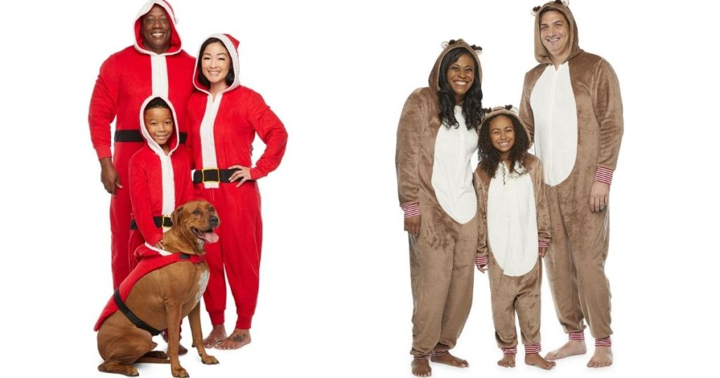 two families in matching pajamas