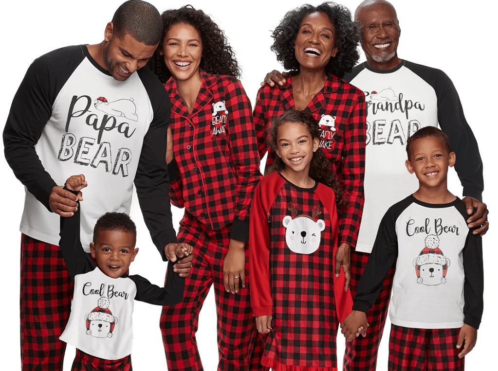 group of family members wearing matching pajamas