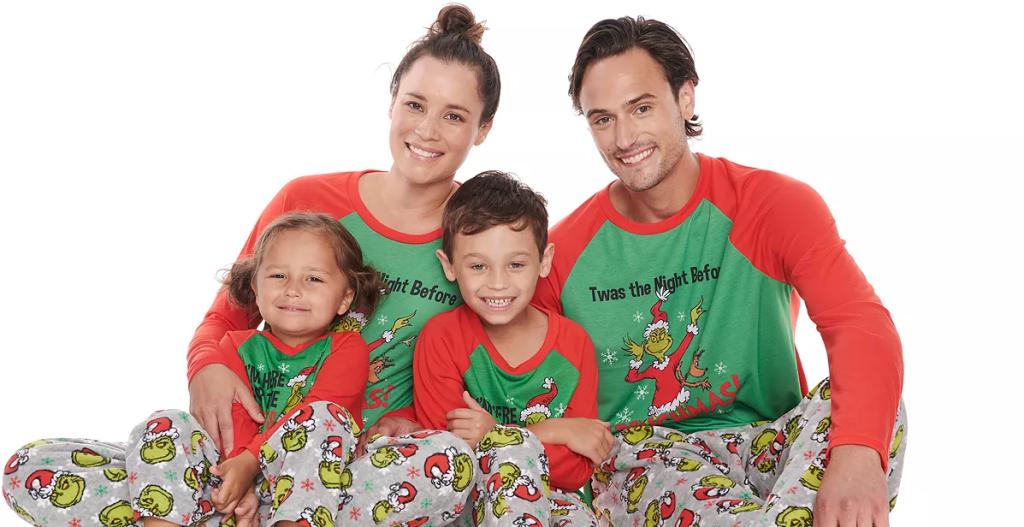 family in matching pajamas
