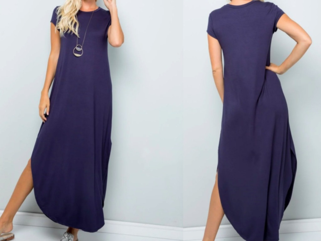 front and back view of a lady wearing a maxi dress