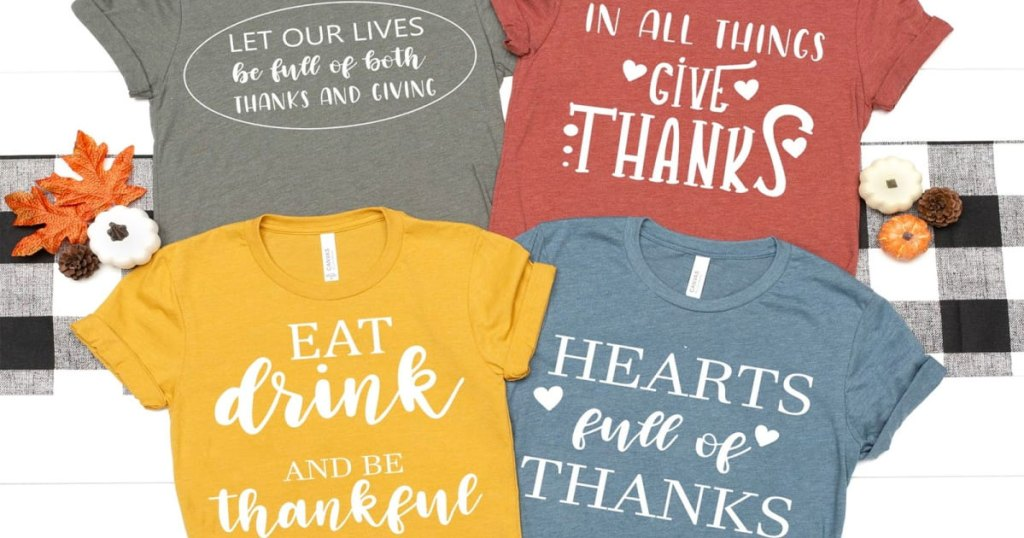 four women's thanksgiving tees with various sayings