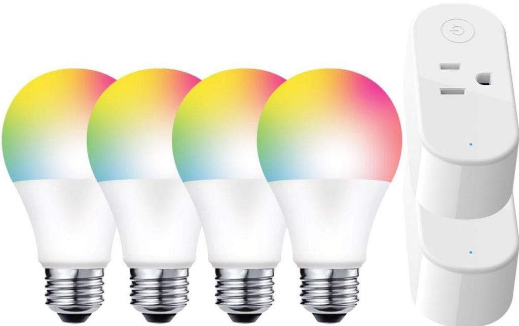 Four Smart Home Light Bulbs and two plugs