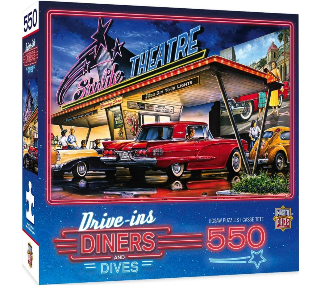 jigsaw puzzle box with a retro drive in featured