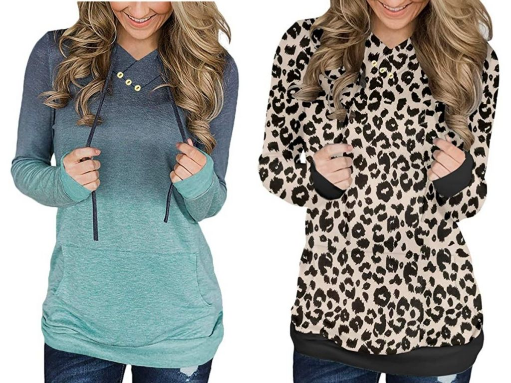 women wearing long fitted sweatshirts