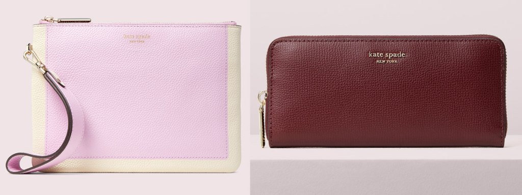 light purple kate spade wristlet and burgundy zip-up wallet
