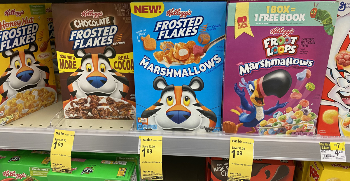 boxes of cereal on store shelf