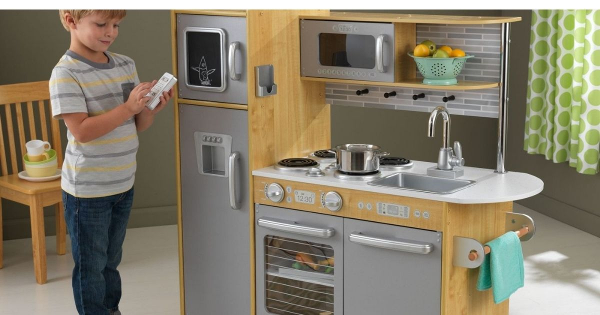 KidKraft Natural kitchen with child