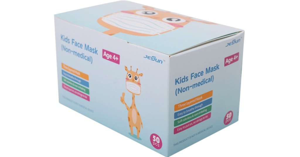 kids disposable face masks in a box