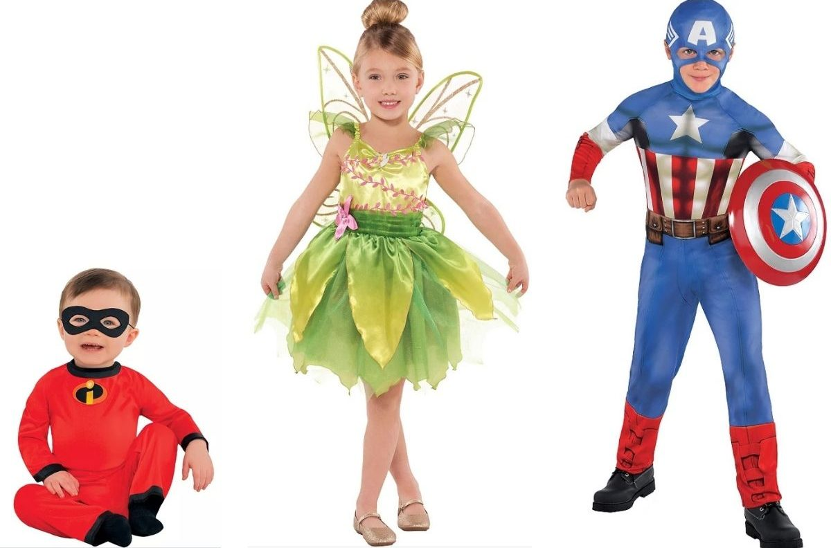 baby dressed as Jack Jack, Girl dressed as Tinkerbell and boy dressed as Captain America