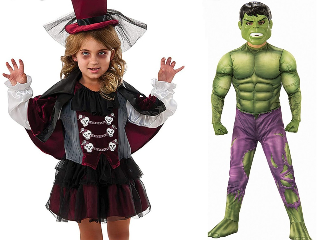 Little girl wearing a burgundy vampire costume and boy wearing a green hulk costume