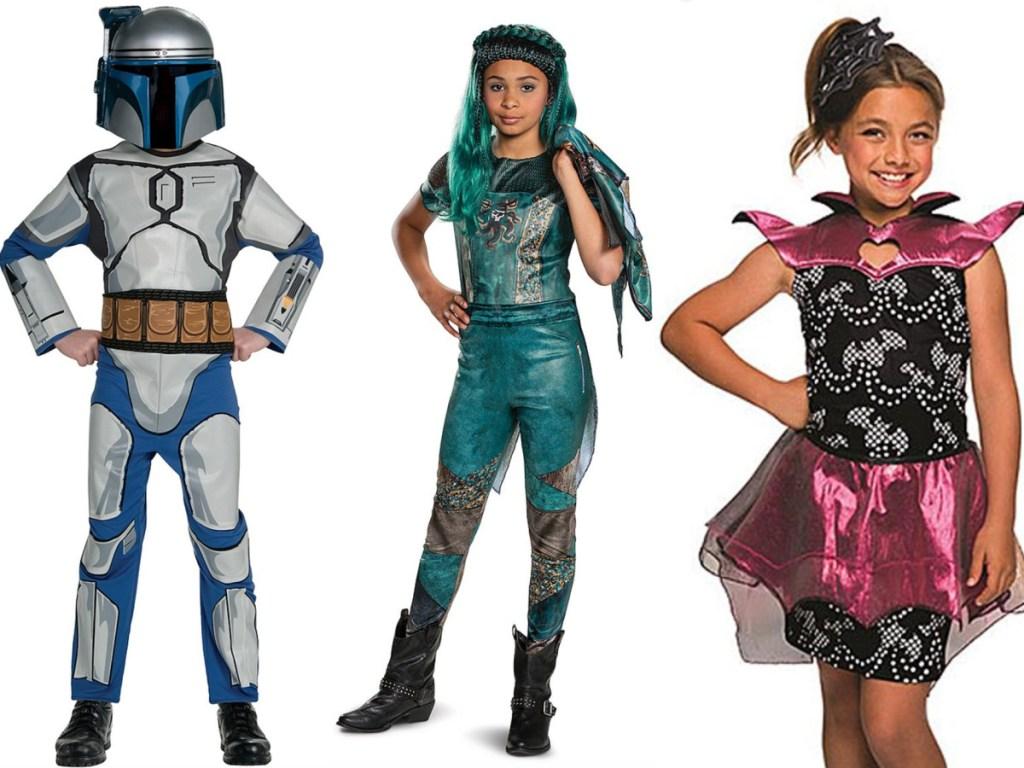 3 kids wearing Halloween costumes