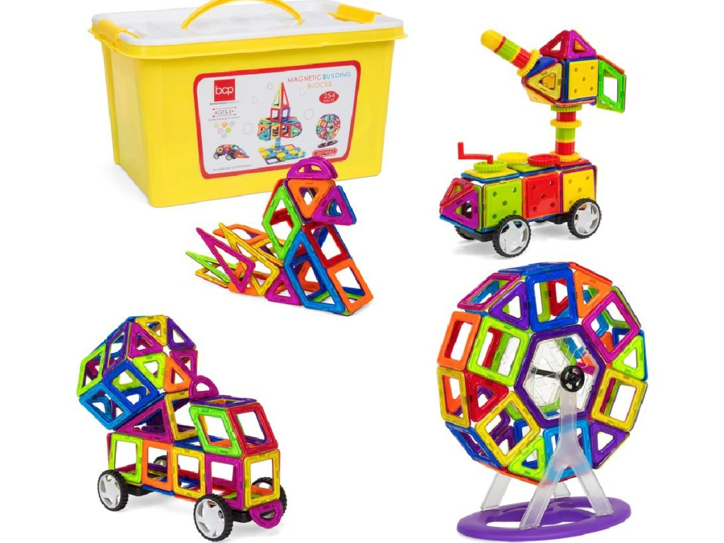 magnetic building tiles set and storage box