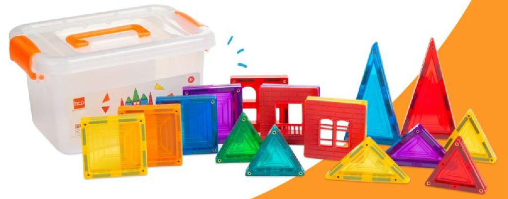 magnetic building tiles set and carrying case