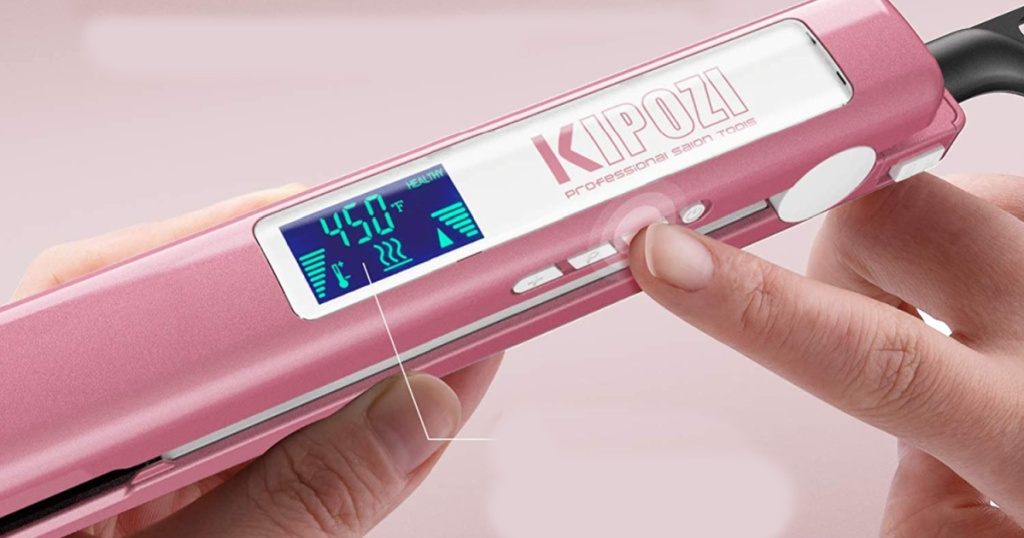 top view of kipozi hair straightener with temperature guide