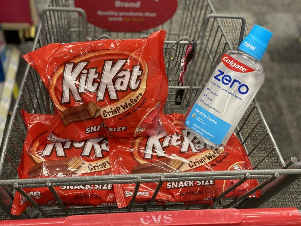 Kit-Kats and Colgate Mouthwash in a cart