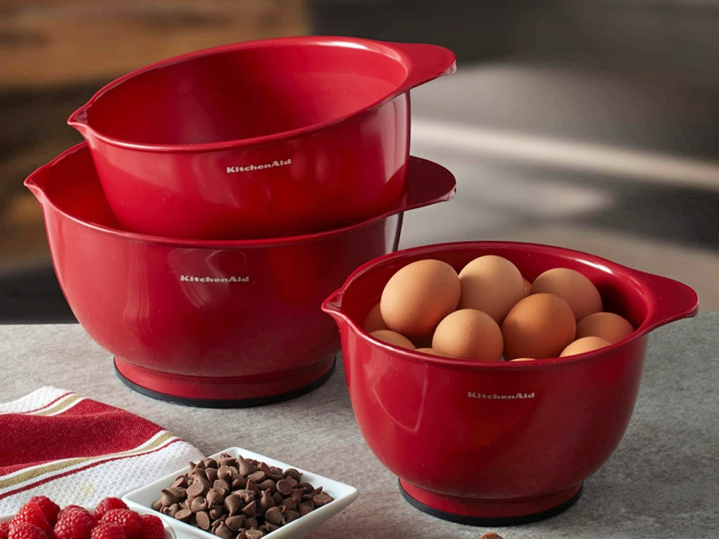 KitchenAid Classic Set of 3 Empire Red Mixing Bowls with eggs and ingredients