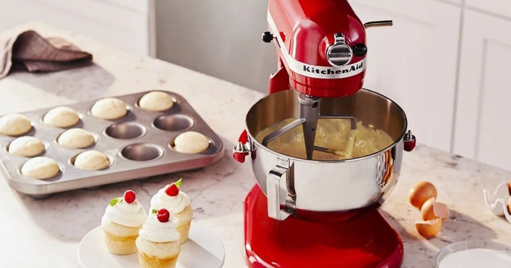 KitchenAid Professional Mixer on counter with cupcakes next to it