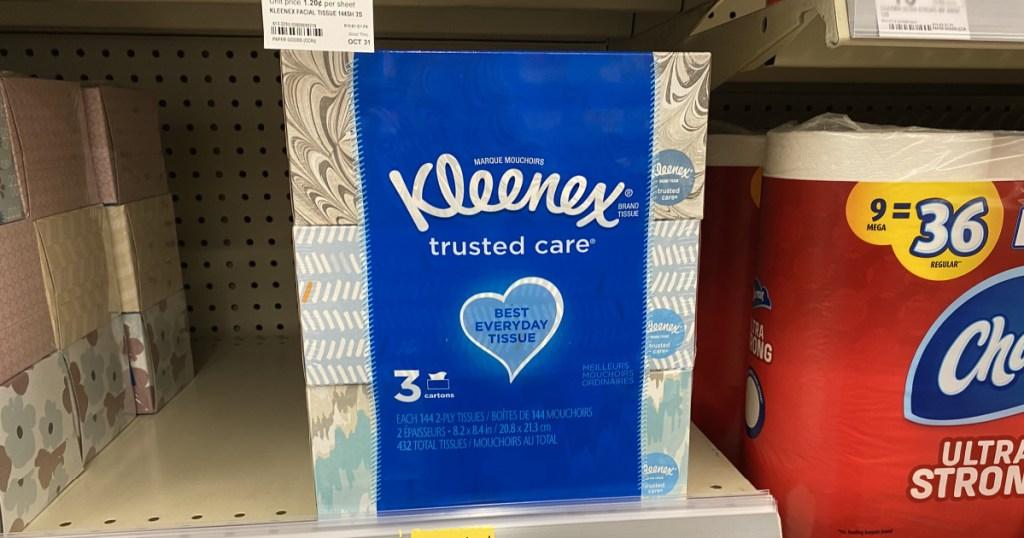 large bundle of kleenex sitting on store shelf