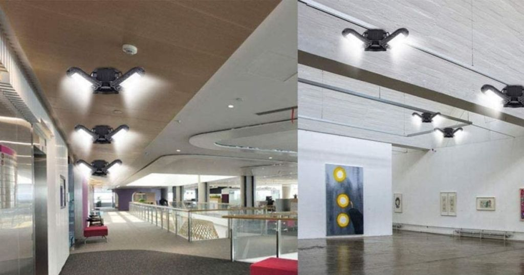 LED ceiling lights in office and in gym
