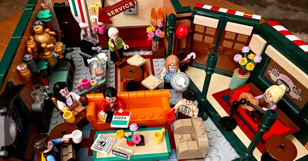 LEGO Friends Central Perk set with minifig characters in coffee shop
