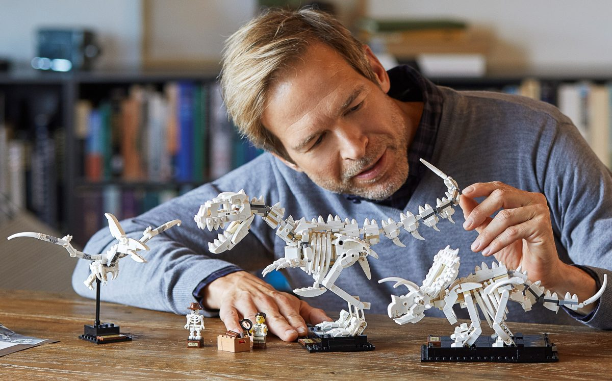 man building dinosaur fossil kit