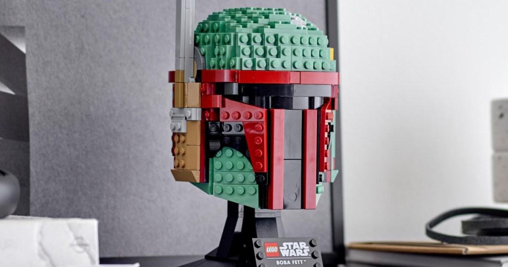 LEGO boba fett helmet on display