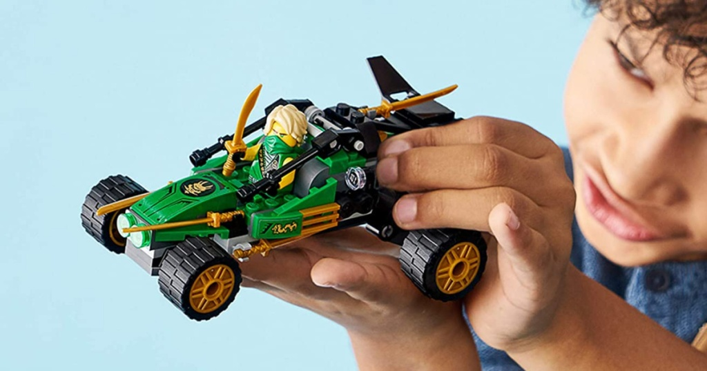 LEGO ninjago car in boys hand