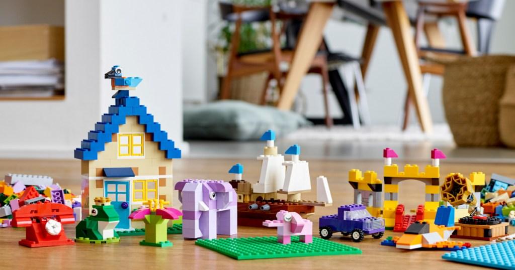 LEGOs built on floor for kids