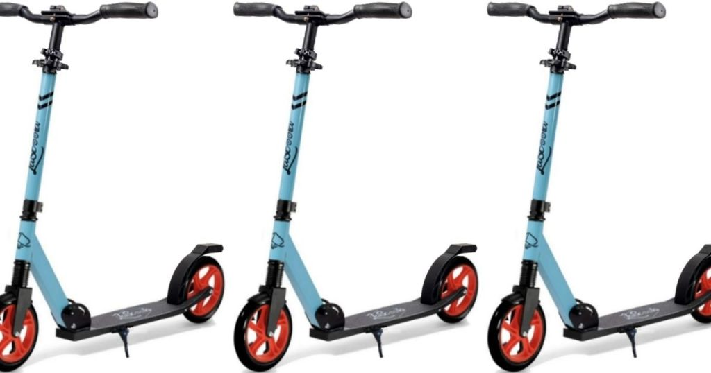 three images of a scooter