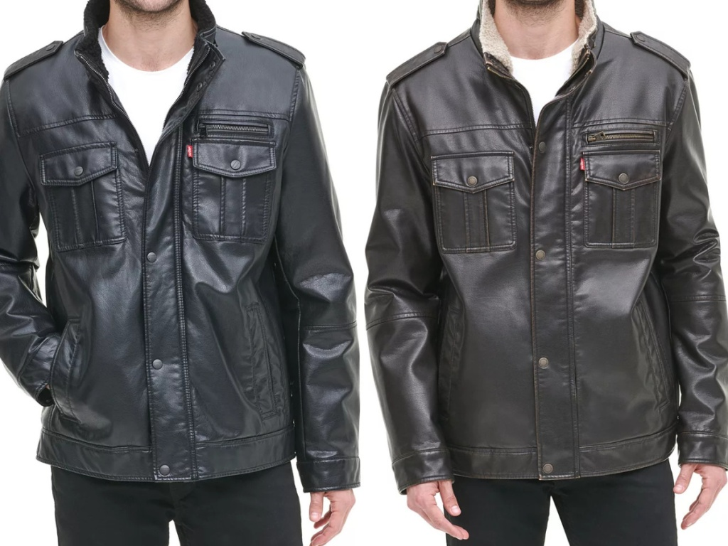 man in black faux leather jacket and man in brown faux leather jacket