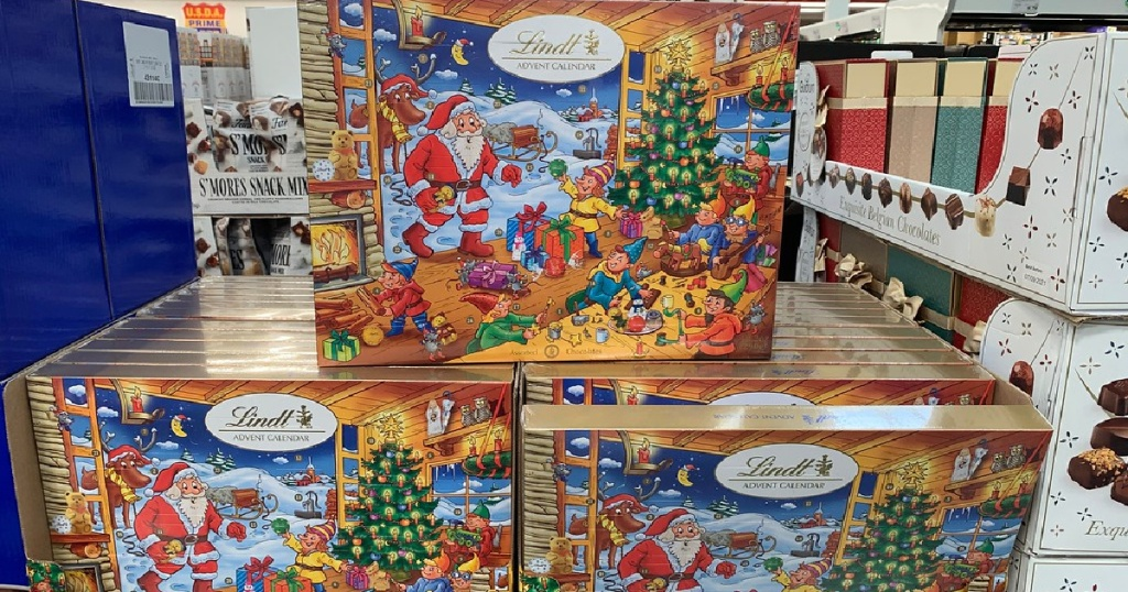 chocolate advent calendars in warehouse store