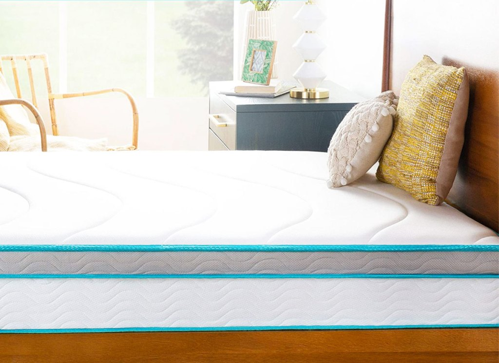 "linenspa 10"" mattress on wood bed frame with matching headboard"