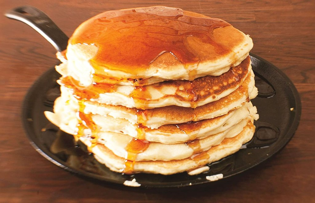 stack of pancakes on a cast iron skillet