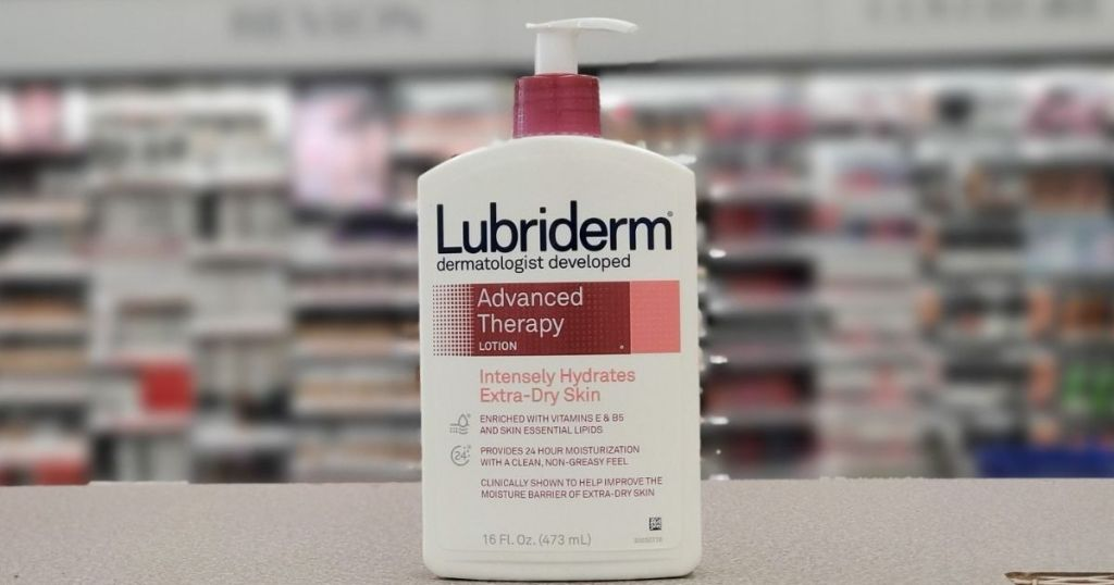 bottle of Lubriderm Advanced Therapy Moisturizing Body Lotion on counter