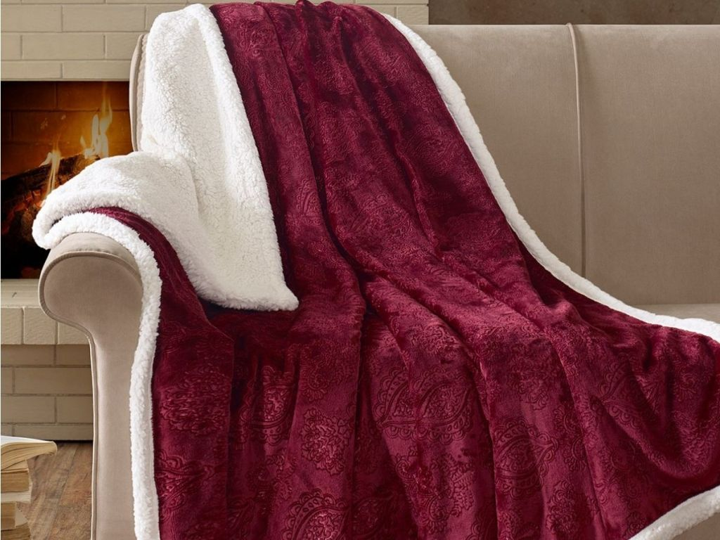 Madison Park Reversible Embossed Sherpa Throw