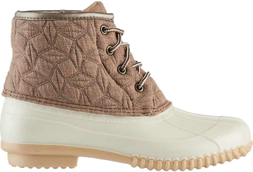women's tan and brown duck boot