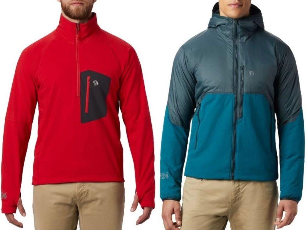 Two men wearing mountain hard wear outerwear