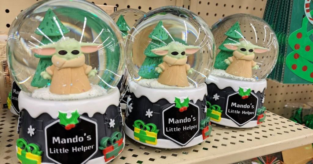 Mandalorian Baby Yoda Holiday Snow Globe at Hobby Lobby