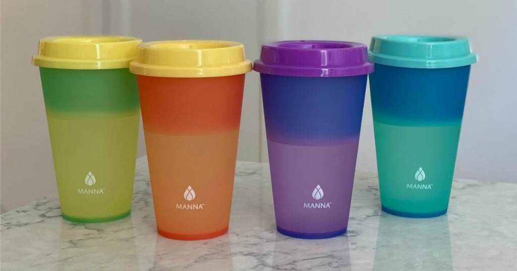 Manna Color Changing Cups on counter