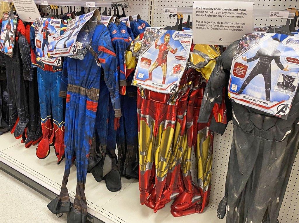 marvel superhero boys halloween costume jumpsuits on display at target