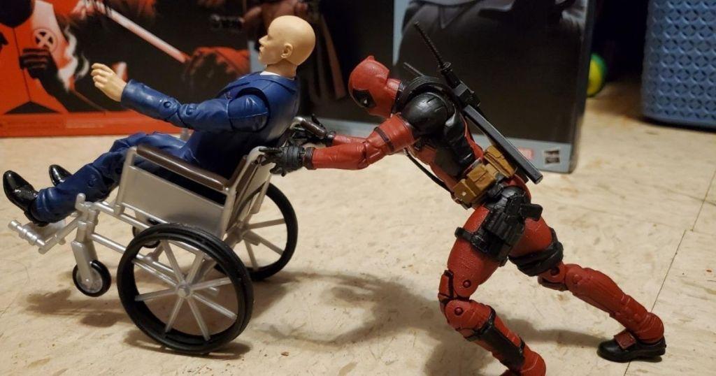 Marvel Professor X pushing Magneto in wheelchair