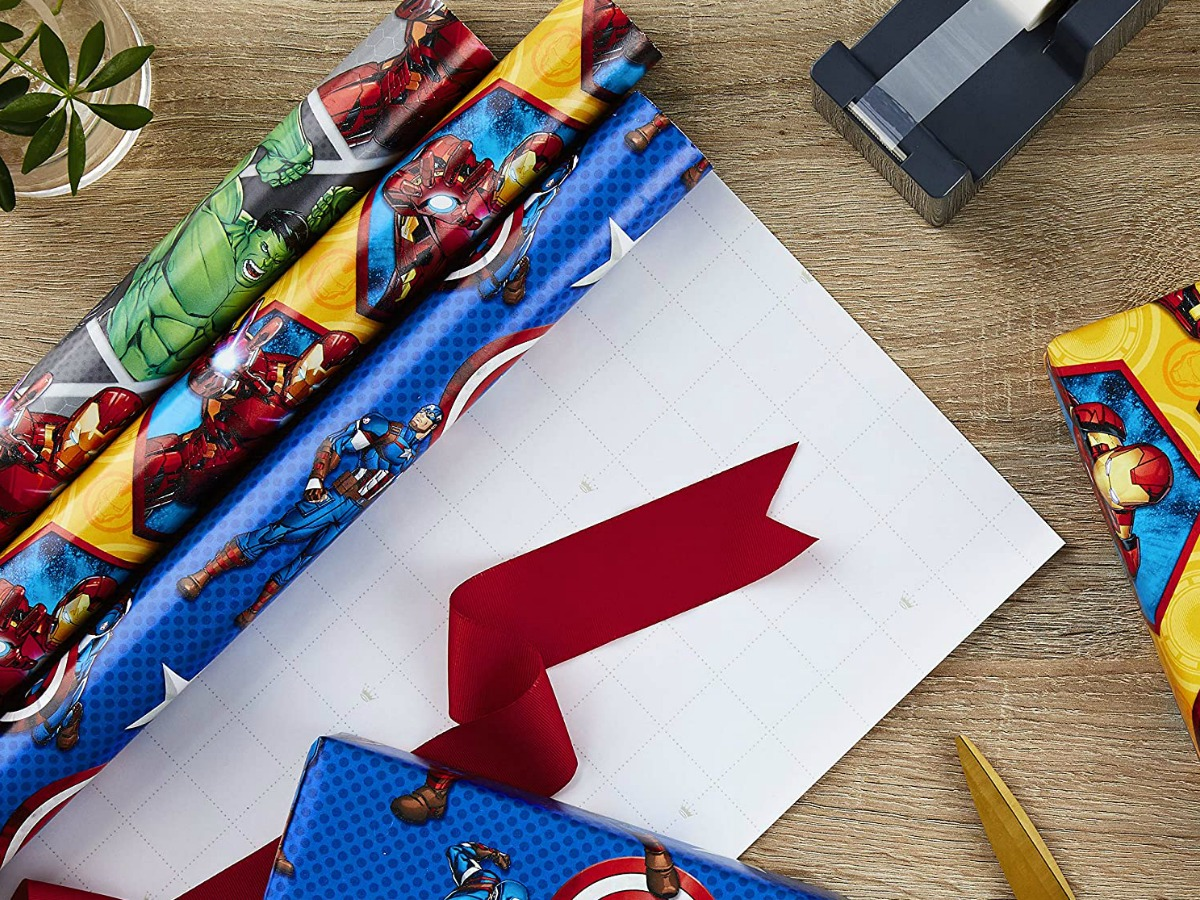 Marvel themed wrapping paper
