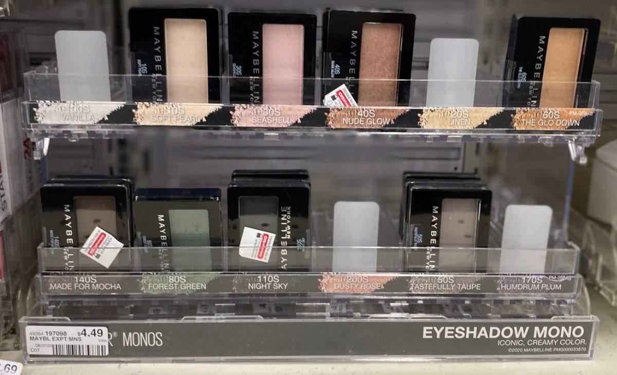 single eyeshadows on display in store